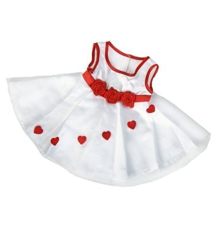 """Adorable Hearts"" Dress Outfit Fits Most 14"" - 18"" Build-a-bear, Vermont Teddy Bears, and Make Your Own Stuffed Animals"