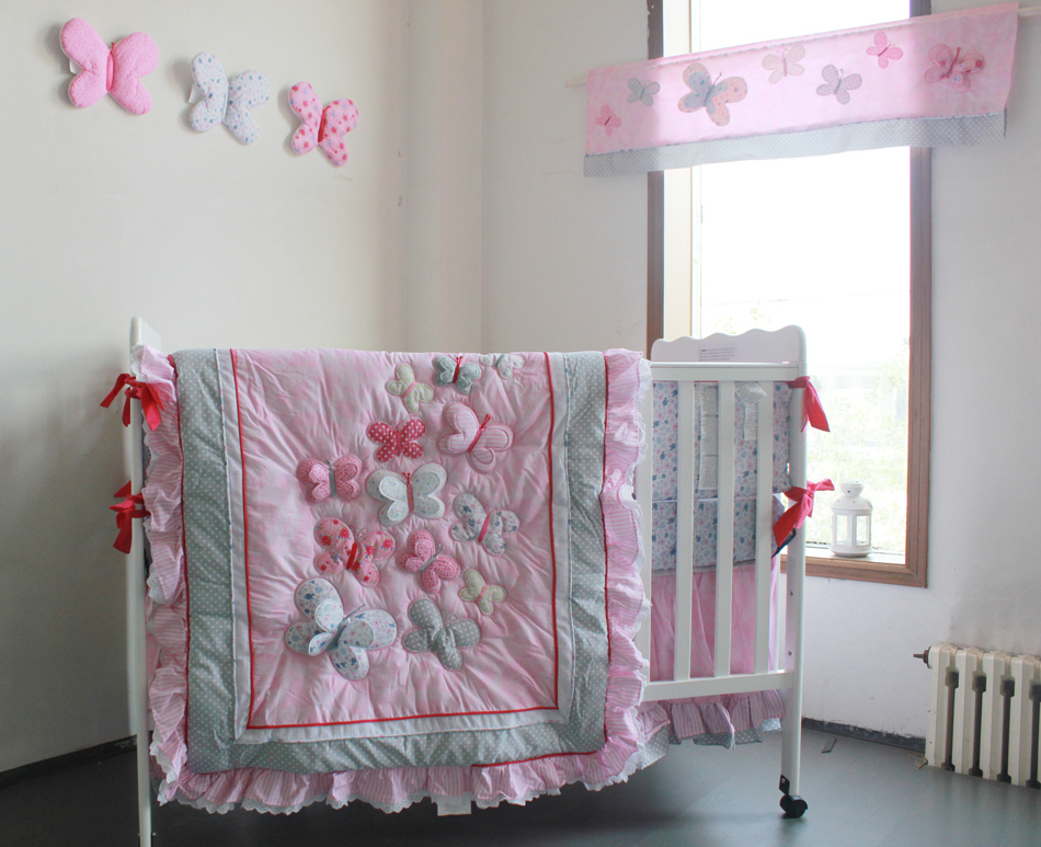 2018 new design wholesale and OEM africa 3D applique embroidery baby crib cotton nursery bedding <strong>set</strong>