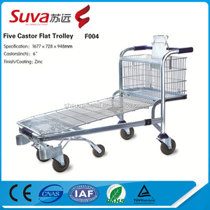 Heavy duty warehouse iron trolley size/trolley specification