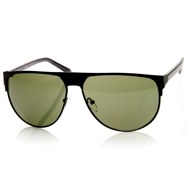 7efe1eebf0bb Get Quotations · zeroUV - Modern Fashion Large Metal Frame Flat Top Aviator  Sunglasses