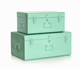 Set 2 Colorful Metal Storage Trunk Locked Trunk Boxes With Handles
