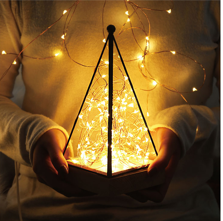 Home Decor Christmas Decorative LED Lights Acrylic Geometric Terrarium