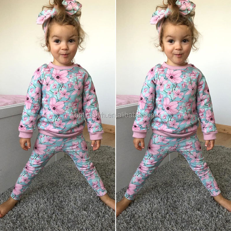 Children Frock Design Baby Girls Floral Tracksuit Kids Long Sleeve Warm Outfits Kids Clothing