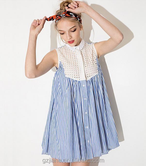 88784959aee72 ثوب جديد أزياء الصيف بلا أكمام زرقاء مقلمة الشبكة خياطة صغيرة عالية الخصر  ثوب المرأة بلوزة
