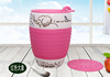 Haonai 16oz 450ml ceramic cup take away cup porcelain travel cup with customized decal