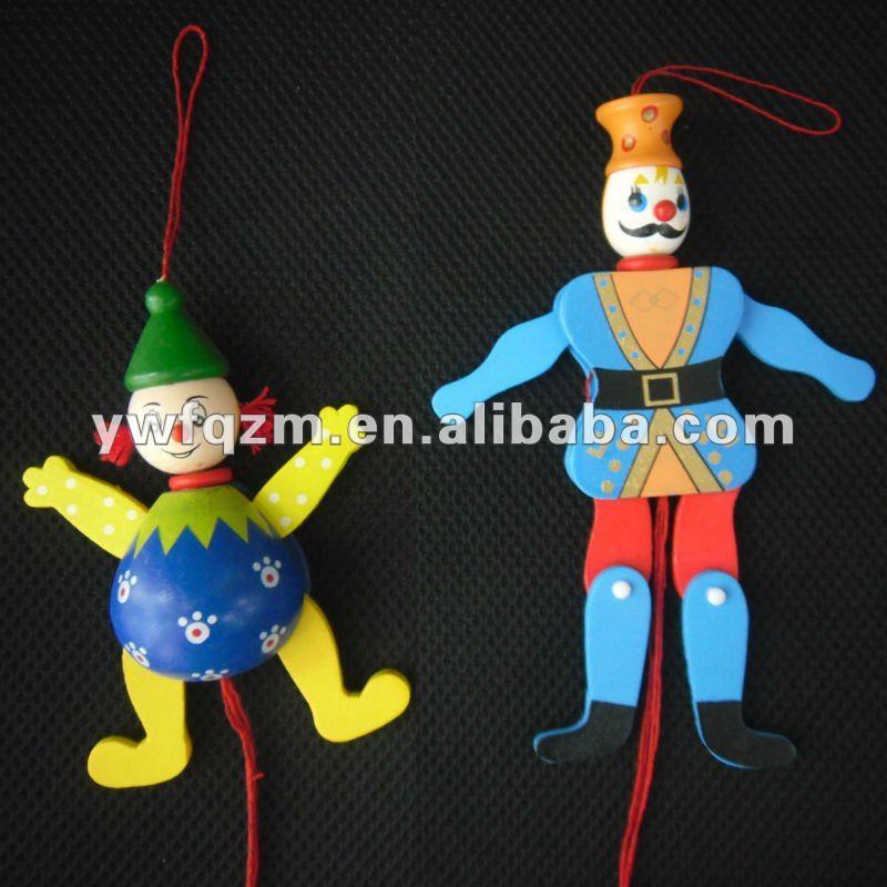 wood puppet doll with string for children toys