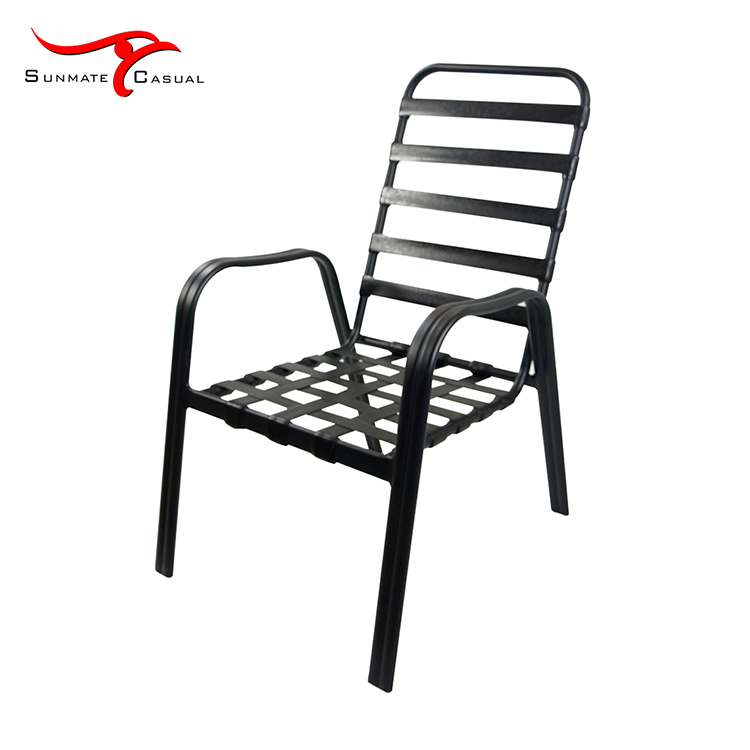 Outdoor Patio Furniture Garden High Back Metal Aluminum Frame Stacking Dining Chair With Cushion