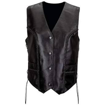 Diamond Plate Women's Leather Vest w/braided trim