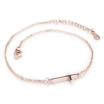 Simple cuban chains anklet ladies inverted cross anklet