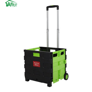 Plastic Portable Folding Shopping Cart with Wheels Transit Utility Cart
