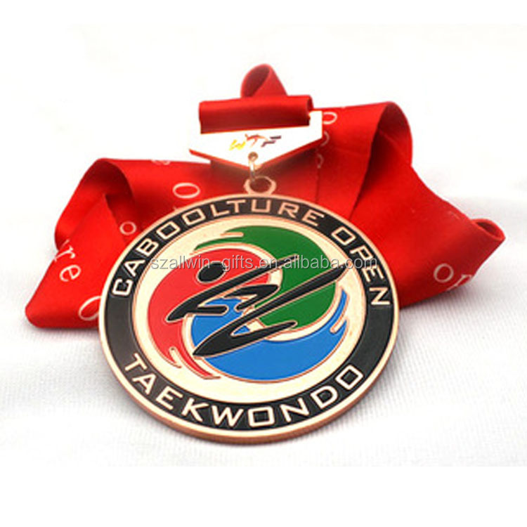 Wholesale cheap sports taekwondo medal with ribbon