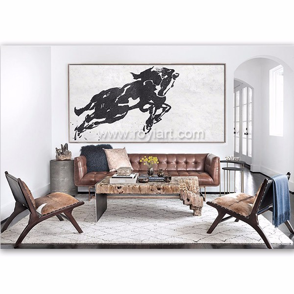 Black and White hand painted modern abstract animal running horse oil painting
