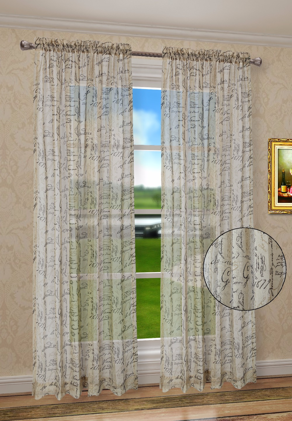 Euphoria French Script Faux Linen Sheer Window Valance Curtain Panel Taupe Color 50