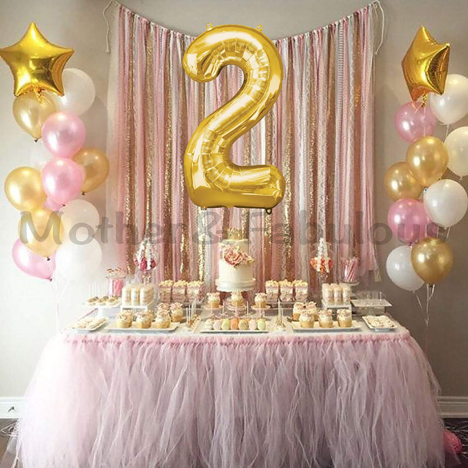 Get Quotations Second Birthday Baby Girl Balloons Decoration 40 Number2 Mylar Balloon