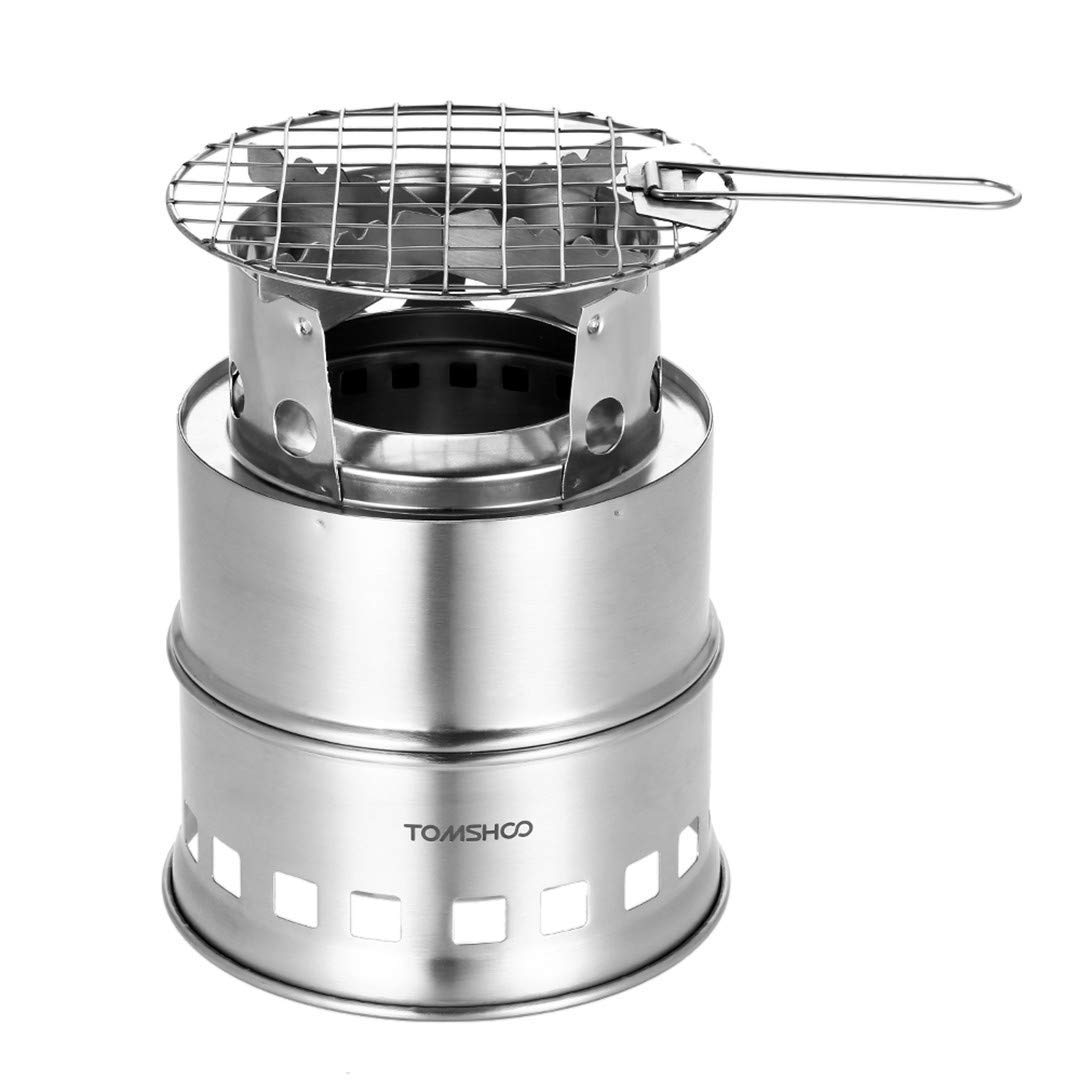 H-Henrne Portable Outdoor Folding Gas Stove Camping Equipment Stainless Steel Folding Windproof Wood Burning Stove for Camping