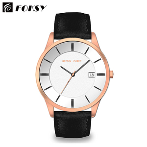 Custom Minimalist OEM Fashion Luxury Stainless Steel Back Genuine Leather Strap Japan Movt Quartz Waterproof Wrist Mens Watch