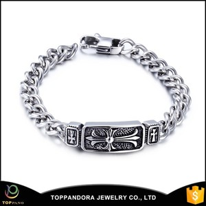 Small order and cheap price hot sale fashion chain bracelet, Braided blanks stainless steel Charms Cuff Bangle