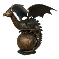 bronze water fountain dragon standing on the ball