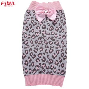Wholesale Heat Pet Clothes Pink Leopard Print Dog Sweater With Bow-knot
