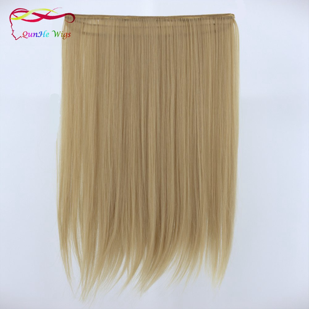 Pirang 5 klip di ekstensi rambut panjang lurus wig rambut sintetis palsu  rambut a5c6d41765
