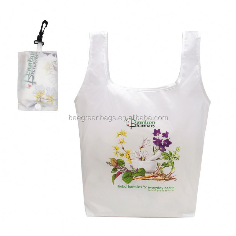BeeGreen Promotional 190T polyester t shirt fold up keychain shopping bag