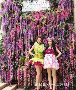 Flowerking brand artificial hanging wedding fabric artificial wisteria decorative flower