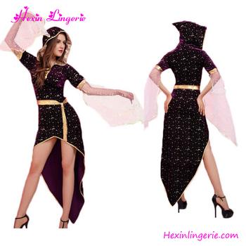 Moon Printed Black Fancy Dress Wholesalers Used Halloween Costumes Sale
