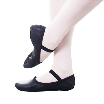 JW Women Girls Leather Soft Full Sole black pink Leather Ballet Dance Shoes