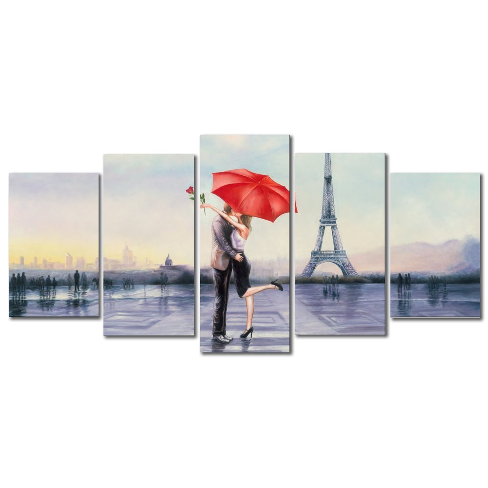 Pyradecor Modern 5 Panel Stretched and Framed Giclee Canvas Prints Love in Paris by Oil Paintings Reproduction Pictures on Canvas Wall Art for Bedroom Home Decorations Valentine's Gift