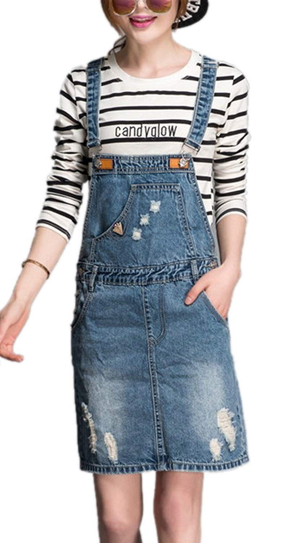 5478a04d96c Get Quotations · Enlishop Women s Fashion Loose Short Denim Jean Overall  Suspender Skirt Blue