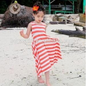 New China Supplier Cotton Beach Dresses Party Wear Pink Baby Girl Vintage Long Stripe Maxi Dress