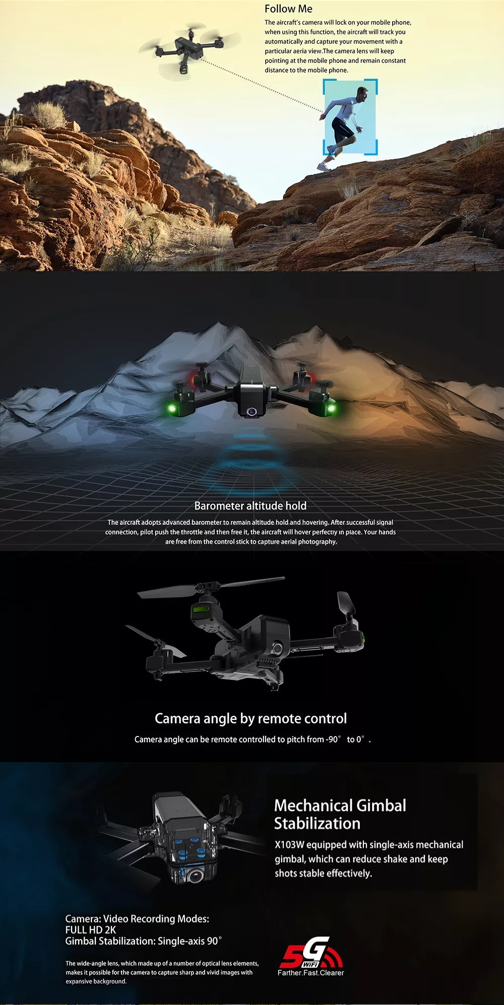 MJX X103W 5G WIFI 2K Camera GPS Drone Foldable Follow Me RC Quadcopter