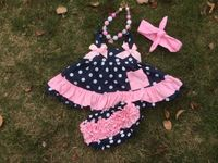 2015 baby new black white dot minnie swing tops swing outfits with matching necklace and headband