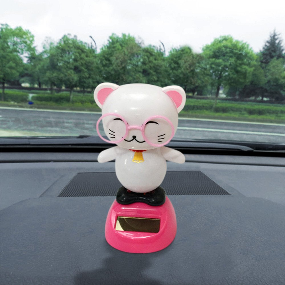 Solar Powered Dancing Toys Swinging Cute Cat Bobble Dancer Toy Car Decor Gessppo
