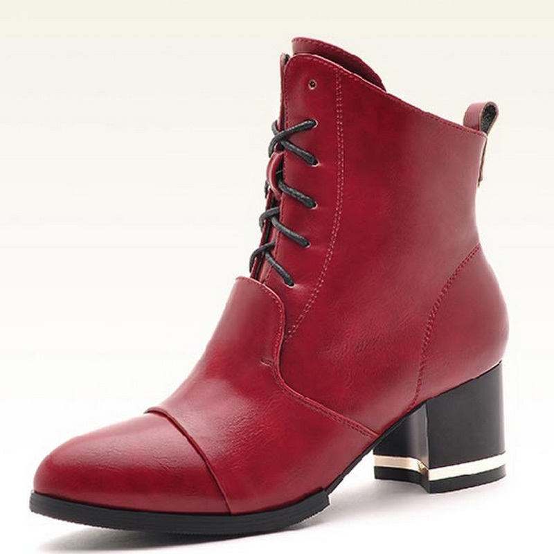 f90c89199050d Buy 2015 Autumn Winter Women High Heel Boots Fashion Lace-up Sexy Ankle  Boots Casual Zipper Red Black Winter Shoes Womens Warm E34 in Cheap Price on  ...