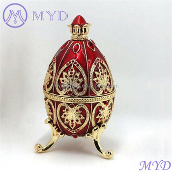 Color red enameled faberge style crystal russian egg trinket jewelry color red enameled faberge style crystal russian egg trinket jewelry box mozeypictures Gallery