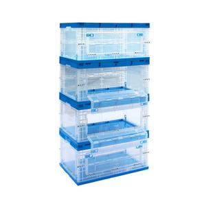 80L transparent plastic foldable crates with side door open