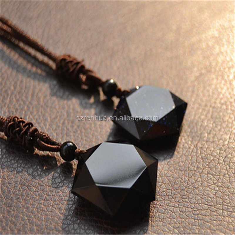 Natural Black Obsidian Cubic Hexagram Necklace Sweater Chain Charm Pendant Gifts