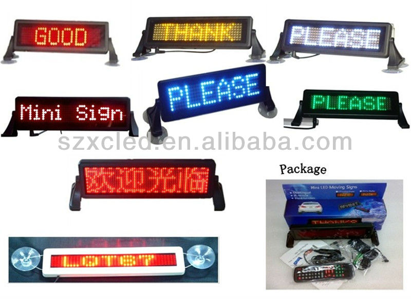 12V LED english car license panel/ 7x23/12x48/12x36 pixel