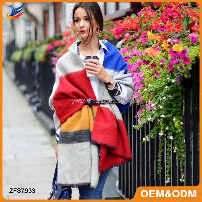Colourful Wide Striped Z Pallium Pashmina Scarf Cape Poncho