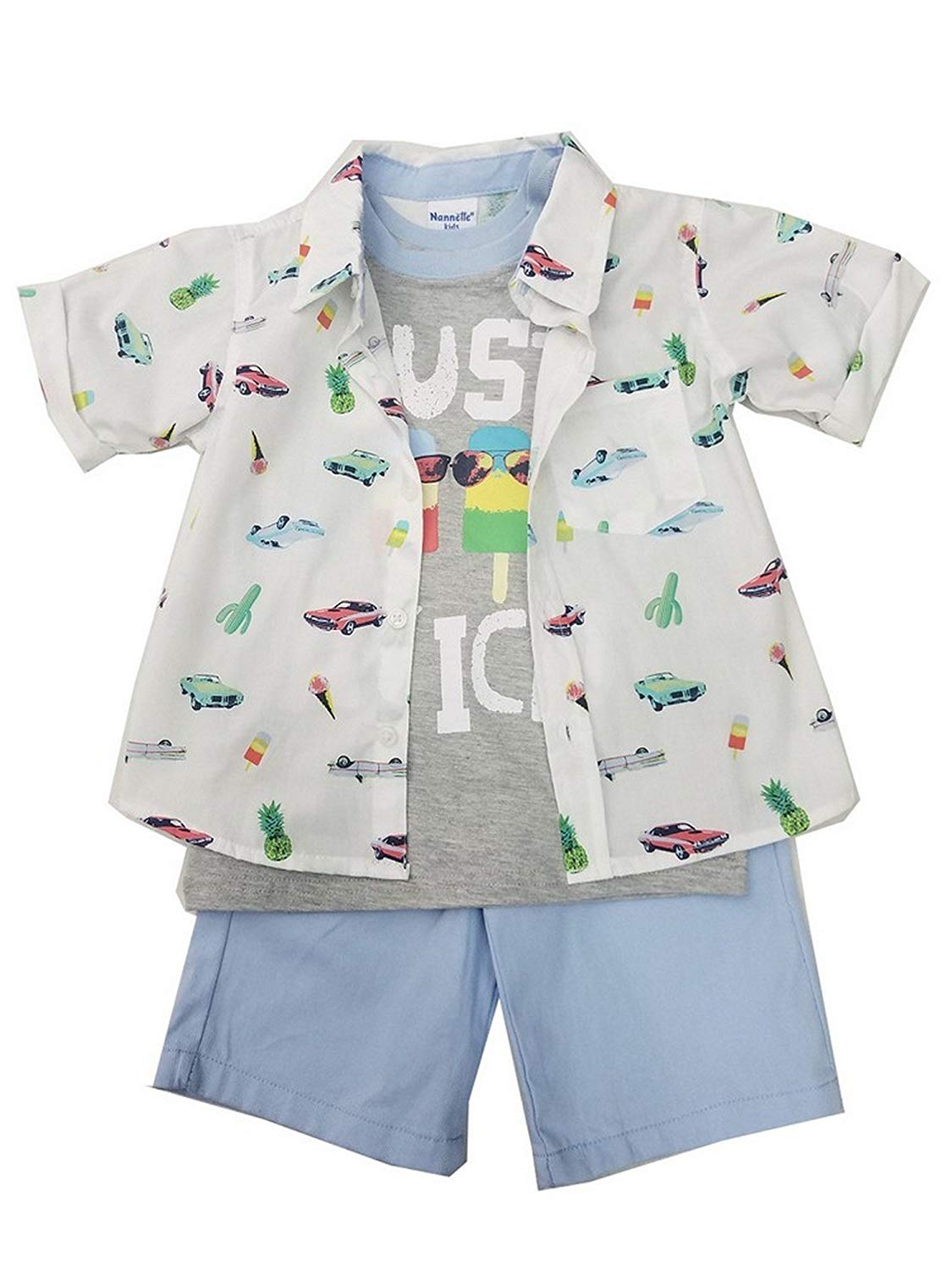 662687ad448bd Get Quotations · Children App Little Boys White Cars Print Shirt T-Shirt 3  Pc Shorts Outfit 4