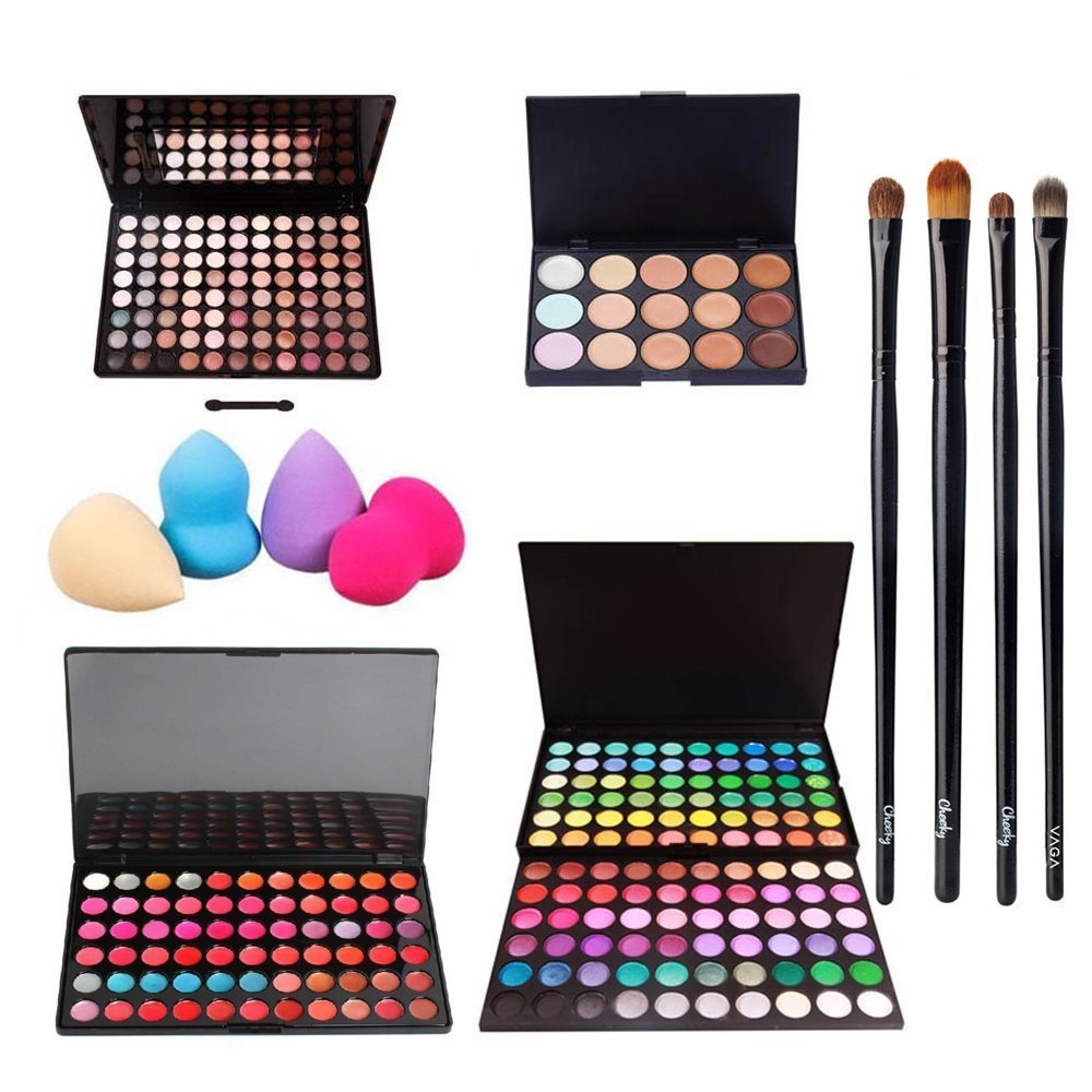 Incredible Deal And Quality Professional Make Up Artists Set With 2 Eyeshadows / Eyes Shadows Palettes With 208 Different Colors, Concealers Palette With 15 Blendable Tones / Shades, Lipsticks And Lips Glosses Palette With 66 Different Colors, 4 Various Wooden Application Brushes And 4 Different