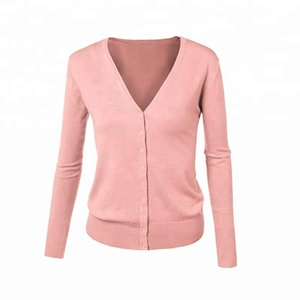 Wholesale Monogram Personalized Women Button Down V-Neck Soft Knit Cardigan Sweater