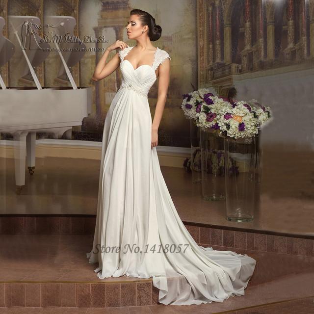 Simple Cheap Beach Wedding Dress Lace Chiffon A Line