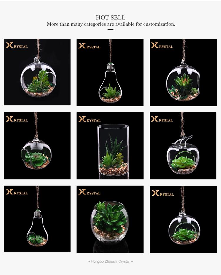 Di Apple a Forma di Vaso di Vetro Trasparente Appeso Terrario di Vetro Con Manico di Corda
