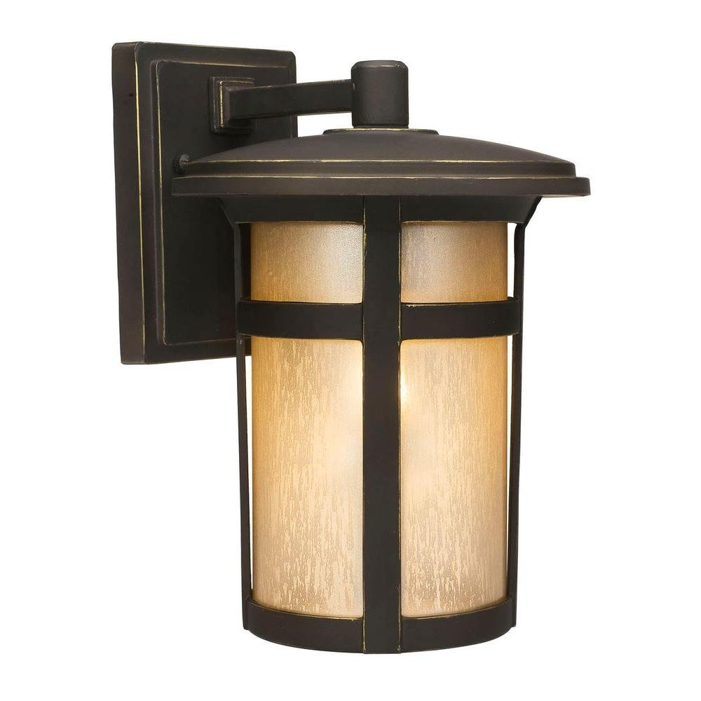 Home Decorators Collection Round Craftsman 1-Light Dark Rubbed Bronze Outdoor Wall Lantern