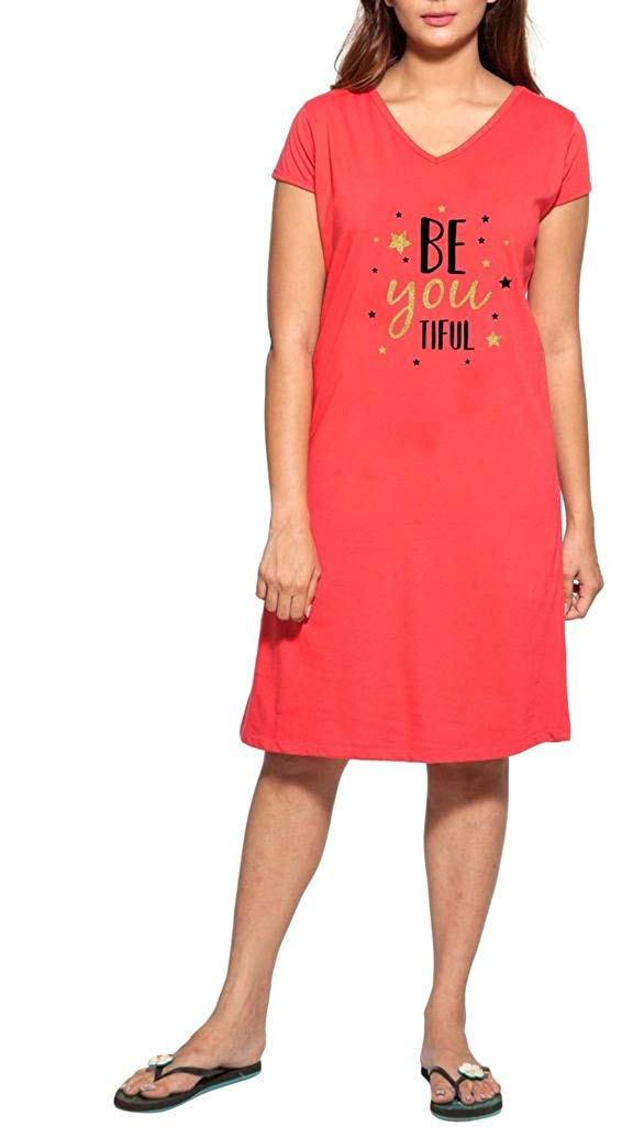 0eb932a64db57 Get Quotations · Clifton Women's Printed Short Sleeve T-Shirt Dress -Water  Melon -Beautiful
