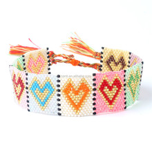 seed bead Woven & Braided Bracelets with sexy lip design Bead loom bracelet with tassel Boho tribal exotic bracelet