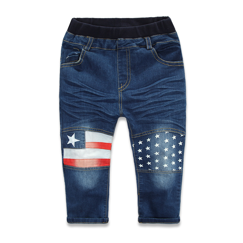 2015 New Arrival Brand Children Jeans For Boys Fashion Flag And Star Print Elastic Waist Denim 2-7 Years Kids Jeans Boys Pants