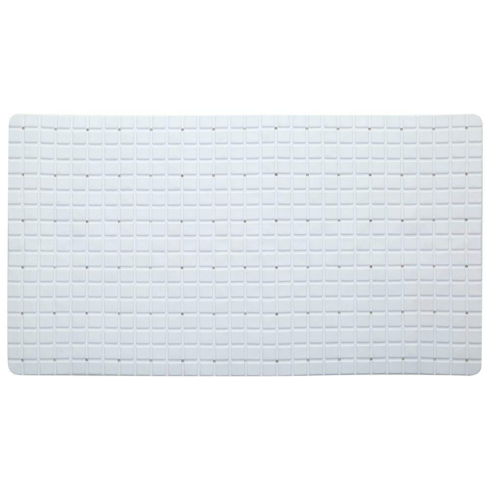 HYRL Carpets 2Pice Bathroom Suction Cup Mat Bath Tub And Shower Mat Extra Long Anti Bacterial PVC And Machine Washable Bathtub Non-Slip Mats(Size:16 X 28 Inch),White